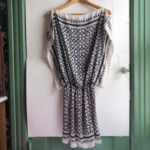 MAX STUDIO Cream Ivory Black Plaid Checkered Dress
